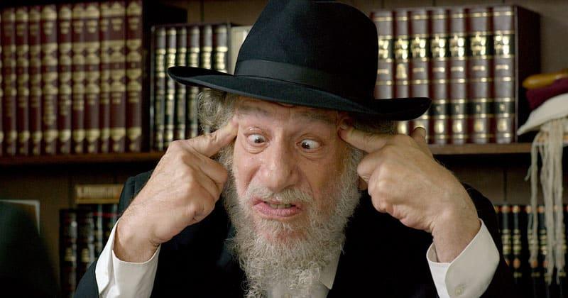 Tango Shalom Head Rabbi cross eyed Ben Cohen as Rabbi Menahem