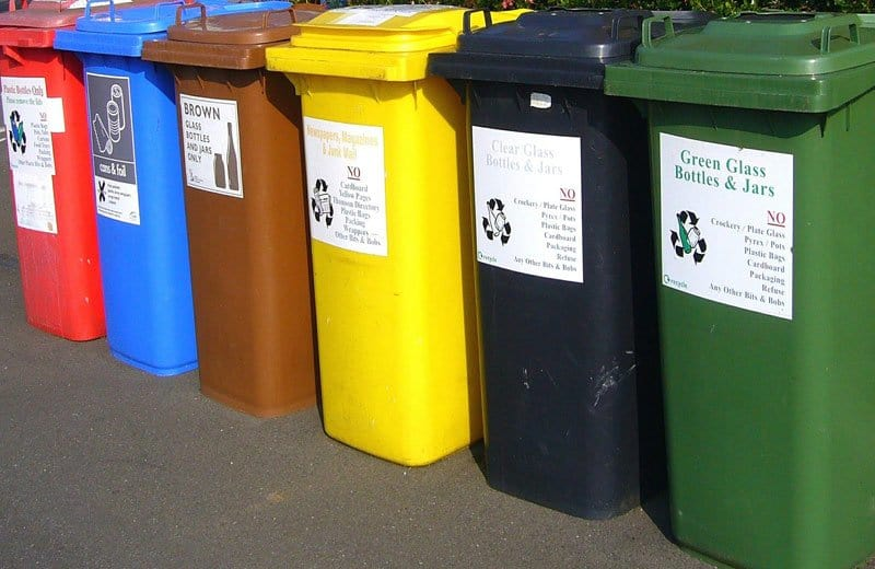 recycling bins. Image by Shirley Hirst from Pixabay
