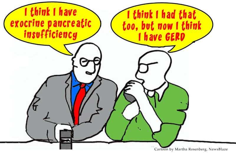 drug ads - 2 men in a bar. Cartoon by Martha Rosenberg, NewsBlaze