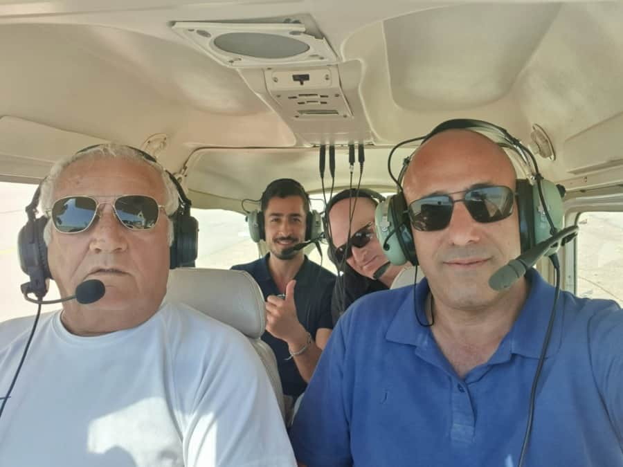 Habithonistim takes a helicopter ride to assess the land of Israel's security needs - Photo credit Habithonistim