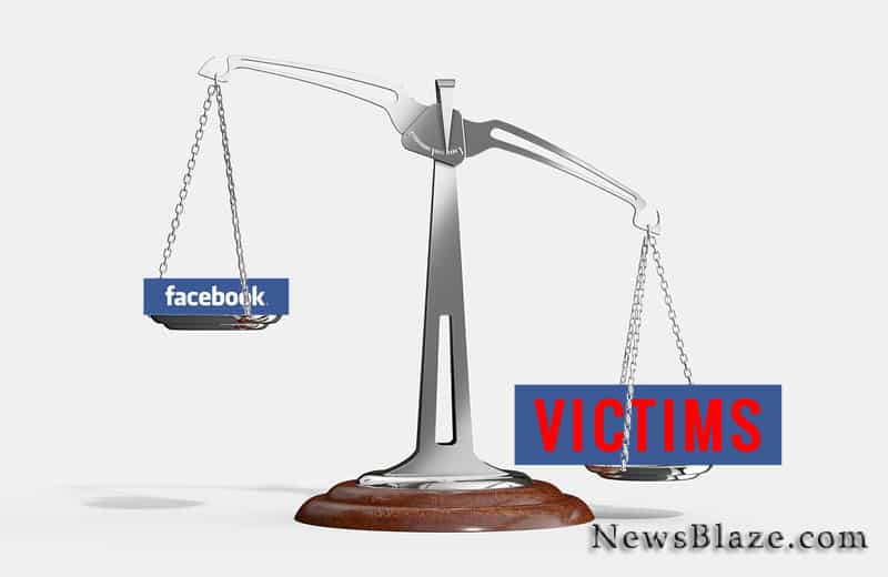 Trafficking victims lawsuits against facebook. Base scales image by Arek Socha from Pixabay