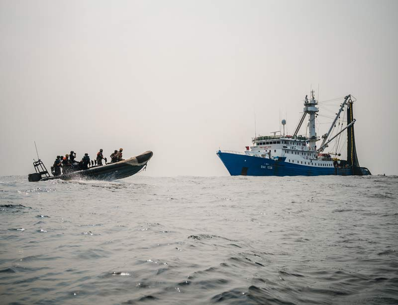 Inspection purse seiner Pont Saint Louis with mako. Photo by Sea Shepherd Global.