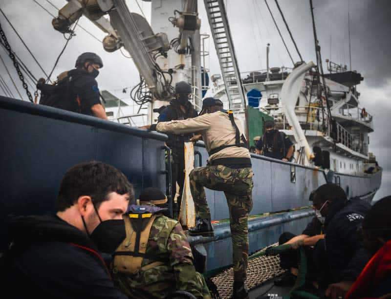Boarding purse seiner Montecelo with Minister. Photo by Sea Shepherd Global.