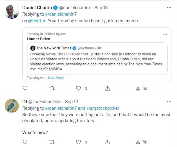 डेनियल चैटिन ट्वीट