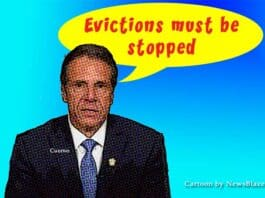 evictions must be stopped cuomo. Cartoon by newsblaze.