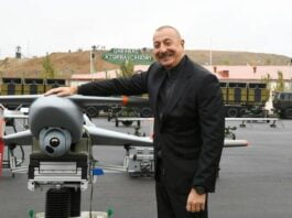 In response to Iranian threats against Azerbaijan's close friendship with Israel, President Ilham Aliyev of Azerbaijan posed with Israeli drone Harop on the Iran-Azerbaijan border. Source: President.az